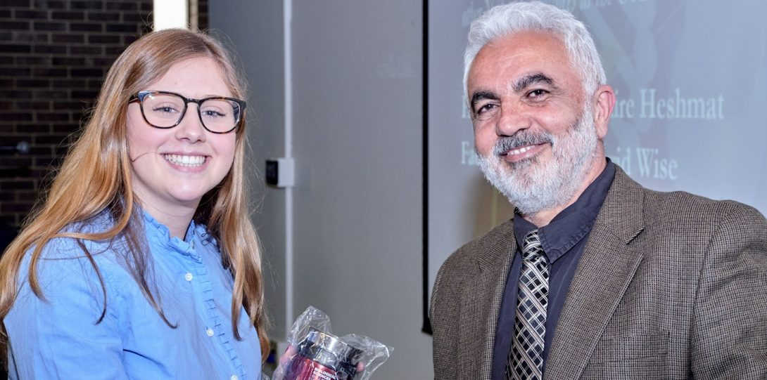 Hormoz pictured with a student who was awarded.