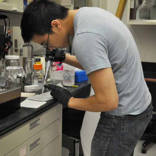 Graduate student in research lab