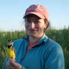 Megan Garfinkel in a field with a bird.