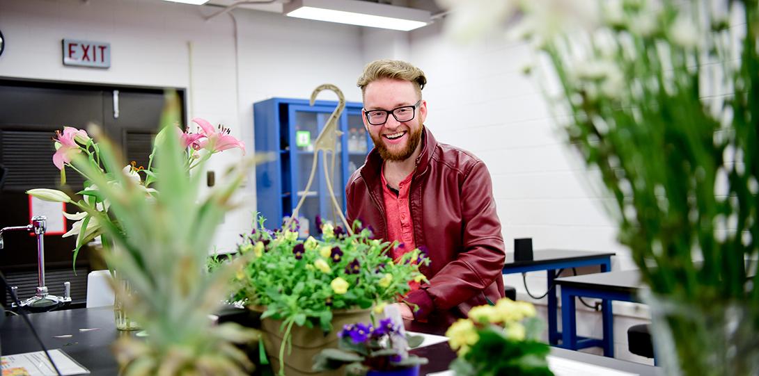 boy with plants